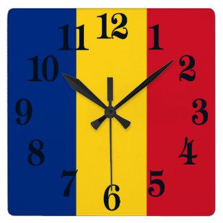 ルーマニアの旗 スクエア壁時計