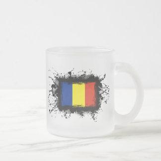 ルーマニアの旗 フロストグラスマグカップ