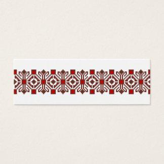 ルーマニアの民俗衣裳のステッチの幾何学的な花の芸術 スキニー名刺