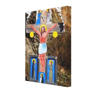 ルーマニア、モルドバの路傍の神社 キャンバスプリント