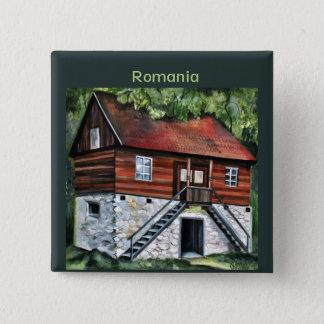 ルーマニア- Transylvanianの伝統的な家 缶バッジ