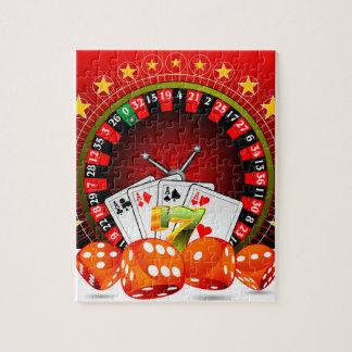 ルーレット盤を持つカジノの絵はさいの目に切り、 ジグソーパズル