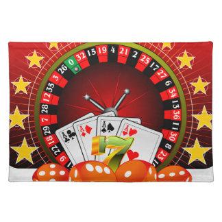 ルーレット盤を持つカジノの絵はさいの目に切り、 ランチョンマット