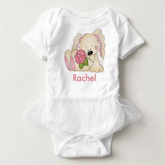 レイチェルの名前入りなバニー ベビーボディスーツ