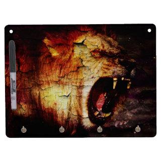 レオの占星術のサファリの野生動物のアフリカ人のライオン キーホルダーフック付きホワイトボード