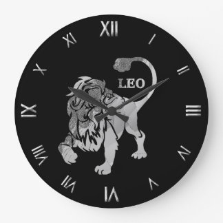 レオの銀製の(占星術の)十二宮図の記号の柱時計 ラージ壁時計