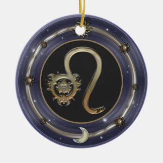 レオの(占星術の)十二宮図の印 陶器製丸型オーナメント