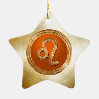 レオの(占星術の)十二宮図の印 陶器製星型オーナメント