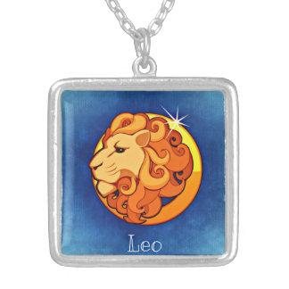 レオの(占星術の)十二宮図の正方形のネックレス シルバープレートネックレス