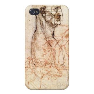レオナルド・ダ・ヴィンチのスケッチ-人および馬 iPhone 4/4S ケース