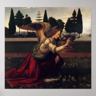 レオナルド・ダ・ヴィンチの告知の天使のプリント ポスター