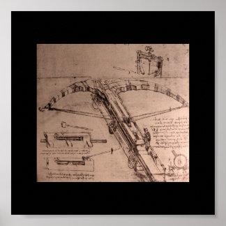 レオナルド・ダ・ヴィンチの巨大な石弓のためのデザイン ポスター