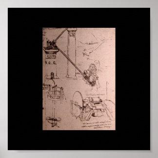 レオナルド・ダ・ヴィンチの機械のスケッチ ポスター