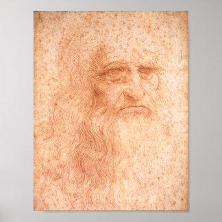 レオナルド・ダ・ヴィンチの自画像の赤のチョーク ポスター