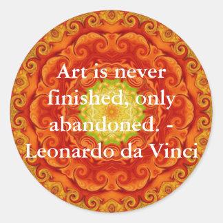 レオナルド・ダ・ヴィンチの芸術の引用文 ラウンドシール