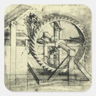 レオナルド・ダ・ヴィンチ著トレッドミルによって動力を与えられる石弓 スクエアシール