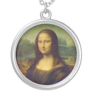 レオナルド・ダ・ヴィンチ著モナ・リザのLa Joconde シルバープレートネックレス