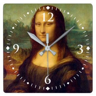 レオナルド・ダ・ヴィンチ著モナ・リザ スクエア壁時計