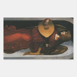 レオナルド・ダ・ヴィンチ著ルートとの赤の天使 長方形シール