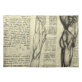 レオナルド・ダ・ヴィンチ著人間の解剖学の男性筋肉 ランチョンマット