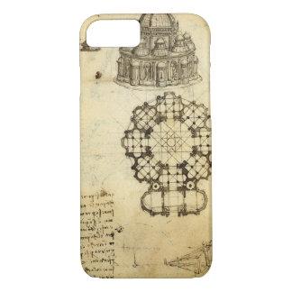 レオナルド・ダ・ヴィンチ著建築スケッチ iPhone 8/7ケース