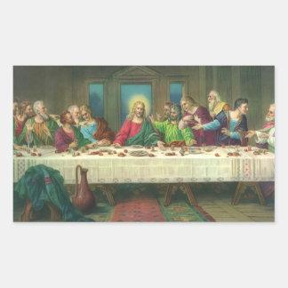 レオナルド・ダ・ヴィンチ著最後の晩餐 長方形シール・ステッカー