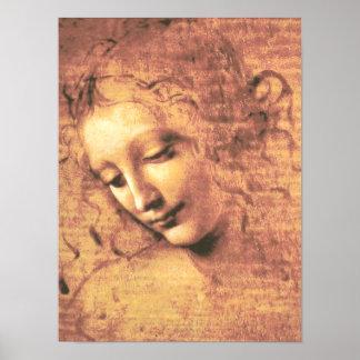 レオナルド・ダ・ヴィンチ著美しい女性 ポスター