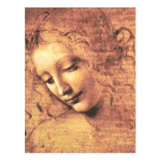 レオナルド・ダ・ヴィンチ著美しい女性 ポストカード