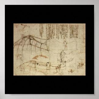 レオナルド・ダ・ヴィンチ著航空機のためのデザイン ポスター
