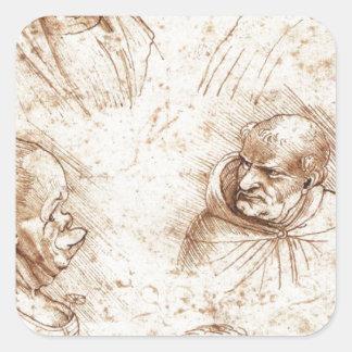レオナルド・ダ・ヴィンチ著5つの風刺漫画の頭部 スクエアシール