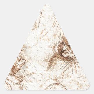 レオナルド・ダ・ヴィンチ著5つの風刺漫画の頭部 三角形シール