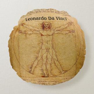 レオナルド・ダ・ヴィンチ著Vitruvianの人 ラウンドクッション