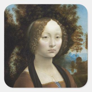 レオナルド・ダ・ヴィンチGinevra De Benciの絵画 スクエアシール