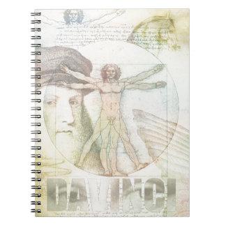 レオナルド・ダ・ヴィンチVitruvianの人のコラージュ ノートブック