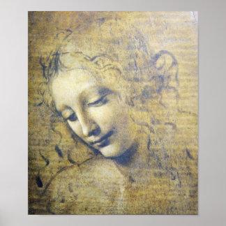 レオナルドDavinciのプリントによる美しい女性 ポスター