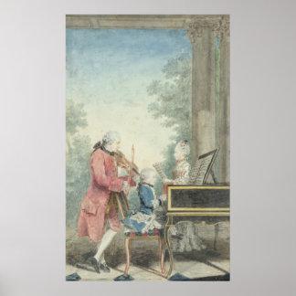 レオポルト・モーツァルトおよび彼の子供ウォルフガング ポスター