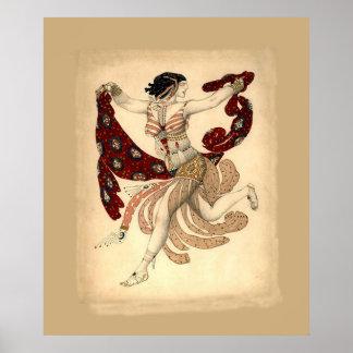 レオンBakst著Cleopatraのバレエの~ 1909年のための衣裳 ポスター