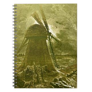 レオンBenettのセピア色の風車の海のイラストレーション ノートブック