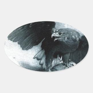 レオンBonnat著AigleとLapin 楕円形シール