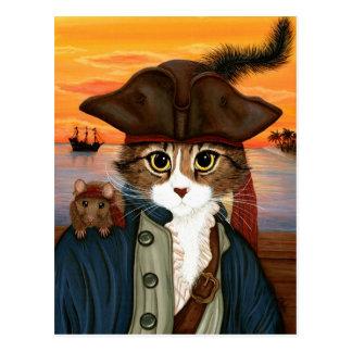 レオ、海賊大尉猫及びラットのファンタジーの芸術の郵便はがき ポストカード
