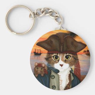 レオ、海賊大尉猫及びラットのファンタジーの芸術Keychain キーホルダー
