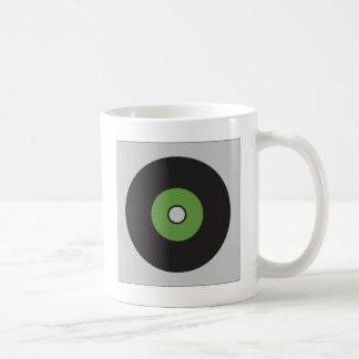 レコードの緑の黒および灰色 コーヒーマグカップ