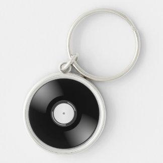 レコード シルバーカラー丸型キーホルダー