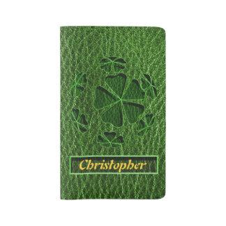 レザールックのアイルランド語CloverBall ラージMoleskineノートブック