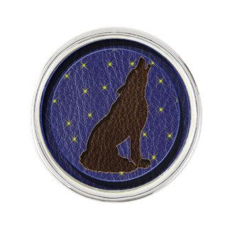 レザールックのネイティブアメリカンの(占星術の)十二宮図のオオカミ ラペルピン