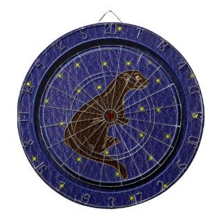 レザールックのネイティブアメリカンの(占星術の)十二宮図のカワウソ ダーツボード