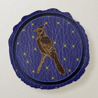 レザールックのネイティブアメリカンの(占星術の)十二宮図のキツツキ ラウンドクッション