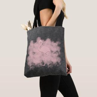 レザールックのピンクのフラミンゴの雲のトート トートバッグ