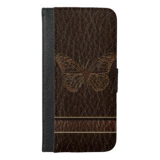 レザールックの蝶暗闇 iPhone 6/6S PLUS ウォレットケース