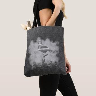 レザールックの銀製のフラミンゴの雲のトート トートバッグ